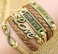 cheap -Men's Women's Leather Chain Bracelet Leather Bracelet Vintage Bracelet Wrap Bracelet - Initial Jewelry Inspirational LOVE Golden Bracelet