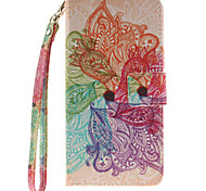 Painted Colorful Flowers Pattern Card Can Lanyard PU Phone Case For Samsung  G530 G360 J1 J3 J5 (2016)