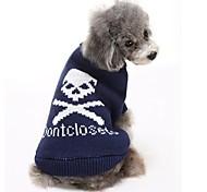 Недорогие -Кошка Собака Свитера Одежда для собак На каждый день Сохраняет тепло Черепа Черный Серый Синий Розовый Костюм Для домашних животных