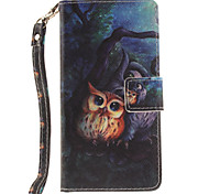 Painted Owl Pattern Card Can Lanyard PU Phone Case For Samsung Galaxy A3 A5 (2016)