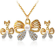 cheap -Women's Pearl Rhinestone Imitation Diamond Bowknot Jewelry Set Earrings Necklace - Cute Party Work Casual Fashion Simple Style Bowknot