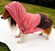 Dog Rain Coat Dog Clothes Waterproof Letter & Number Orange Yellow Green Pink Costume For Pets