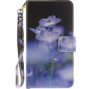 Painted Blue Flowers Pattern Card Can Lanyard PU Phone Case For LG G3 G4 G5 K7 K8 K10