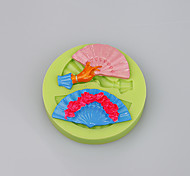 Мода складной форме вентилятора силиконовые формы торта украшения инструменты для фондант торт цвет случайный