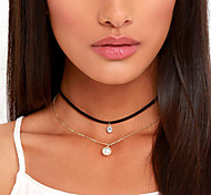 Women's Choker Necklaces Tattoo Choker Circle Pearl Fabric Imitation Diamond Basic Tattoo Style European Fashion Personalized Multi Layer