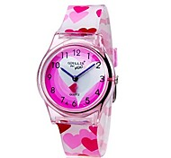 Kids' Wrist watch Colorful Quartz Plastic Band Heart shape Candy color Casual Cool Pink Strap Watch