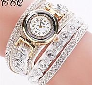 cheap -Women's Bracelet Watch Fashion Watch Quartz Rhinestone Imitation Diamond Leather Band Sparkle Black White Silver