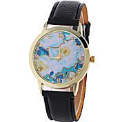 Женские Модные часы Фаза луны Кварцевый Цифровой PU Группа Винтаж Конфеты Цветы С подвесками Cool Повседневная Черный Белый