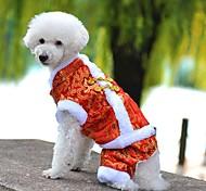 Собака Плащи Комбинезоны Одежда для собак Праздник Мода Новый год Вышивка Желтый Красный Синий Костюм Для домашних животных