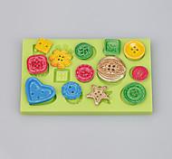 abordables -molde hecho en casa de la torta del silicón de la forma del botón para la decoración de la arcilla del fimo del chocolate del fondant color de ramdon