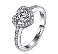 cheap -Women's Statement Ring Band Ring White Synthetic Gemstones Sterling Silver Zircon Cubic Zirconia Imitation Diamond Luxury Bohemian Love