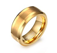 cheap -Men's Fashion Personality Tungsten Carbide Matte Finished IP Gold Plating High Polished  Band Rings(1Pc)
