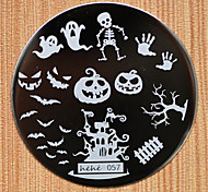 cheap -Halloween Design Round Stainless Steel Nail Plates Nail Art Image