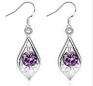 925 серебряный инкрустированный фиолетовый камень раковина серьги классический женский стиль