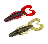 """6 pcs Cebos Gusanos / lombrices Verde Rojo g/Onza,85 mm/3-5/16"""" pulgada,Plástico blandoPesca de Mar Pesca en hielo Pesca al spinning"""
