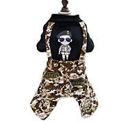 Собака Комбинезоны Одежда для собак Мода камуфляж Черный Костюм Для домашних животных