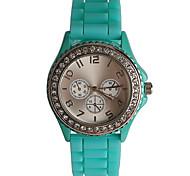 Simple Fashion Diamond Blue Silicone Girls Watch