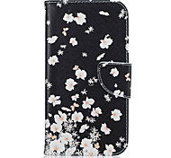 for Motorola Moto G4 Plus G4 Small White Flowers Pattern Leather PU Leather Material Leather Phone Case