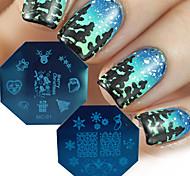Недорогие -новый 2016 Рождественские серии искусства ногтя шаблоны марка поделки Санта-Клауса дерево декора ногтей советы маникюра штамповка пластин