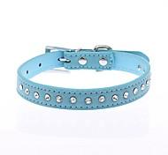 Dog Collar Adjustable / Retractable Reflective Running Hands free Casual Cosplay Polka Dots Rhinestone PU Leather Purple Rose Red Blue