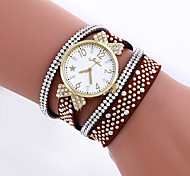 Women's Bracelet Watch Fashion Watch Simulated Diamond Watch Quartz Imitation Diamond Leather Band Butterfly Black White Blue Red Brown