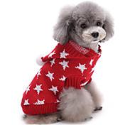 Недорогие -Кошка Собака Свитера Рождество Одежда для собак Очаровательный Сохраняет тепло Звезды Красный Синий Костюм Для домашних животных