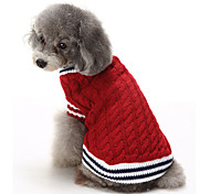 Cat Dog Sweater Christmas Dog Clothes Casual/Daily Keep Warm Color Block Red Blue Costume For Pets