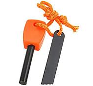FURA Outdoor Magnesium Alloy Flintstone Fire Starter with Scraper - Black / Orange (M-Size)