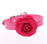 Dog Collar Adjustable / Retractable Running Hands free Casual Cosplay Flower PU Leather Purple Rose Red Blue Pink
