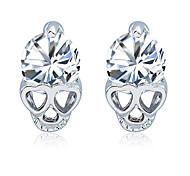 Women Exquisite Gold Plated Anti Allergy Skull Crystal Earrings Zircon Heart Shaped Stud Earrings  1 pair