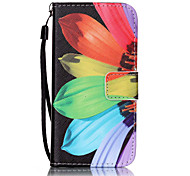 cheap -Case For Apple iPhone 5 Case iPhone 6 iPhone 7 Card Holder Wallet with Stand Flip Pattern Embossed Full Body Cases Flower Hard PU Leather