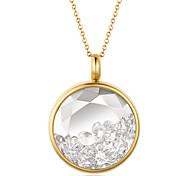 Fashion Beautiful Rhinestone Inlay 316L Stainless Steel Pendant Necklace