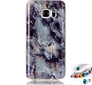 Para samsung galaxia s7 s6 borde cubrir caso marmol patrón pintura imd tecnología tpu material teléfono shell y polvo tapón combinación