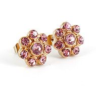 Fashion Flower Shape CZ Stone Inlaid 316L Stainless Steel Stud Earring