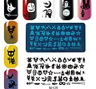 série do dia das bruxas rectangular modelo de placa de impressão manicure