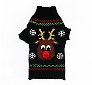 Cat Dog Coat Sweater Dog Clothes Party Casual/Daily Cosplay Keep Warm Wedding Halloween Christmas New Year's Reindeer Red Black