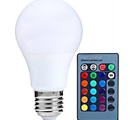 economico -1pc 5W 500lm E26 / E27 Lampadine globo LED A60(A19) 3 Perline LED SMD 5050 Oscurabile Decorativo Controllo a distanza RGBW 85-265V