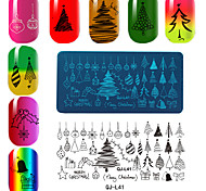 Недорогие -прямоугольная пластина шаблон маникюрный печати серии рождества