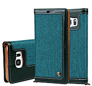 cheap -For Samsung Galaxy S7 S7 Edge Magnetic Denim Canvas Wallet Stand Case Cover With Card Holder Phone Bag