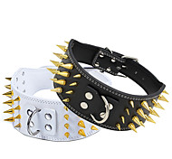 Dog Collar Adjustable / Retractable Studded Rock Music PU Leather White Black