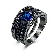 baratos -Anel Zircônia cúbica Zircão Cobre Aço Titânio Aço tungstênio imitação de diamante Preto Azul Jóias Diário Casual 1peça