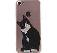 For iPhone 7 7 Plus 6S 6 Plus SE 5S Case Cover Black Cat Pattern High Permeability Painting TPU Material Phone Case