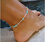 cheap -Women's Anklet Cross Turquoise Alloy Handmade Fashion Simple Style European Beaded Anklet Silver Jewelry For Party Daily