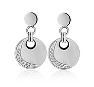 Fashion Silver Round CZ Stone Inlaid 316L Stainless Steel Drop Earring
