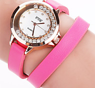 Mulheres Relógio de Moda Relógios Femininos com Cristais Bracele Relógio Quartzo PU Banda Vintage Casual Preta Branco Azul Vermelho