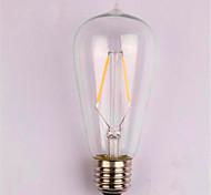 1 unids 2 w e26 / e27 led bulbos de filamento st58 2 leds cob regulable blanco cálido 150-200lm 2300-2700k ac 110v ac22v