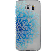 For Samsung Galaxy S7 S6 Case Cover Blue Half Flowers Pattern Painted TPU Material Phone Case