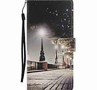 For Sony Xperia XA Ultra X Performance Case Cover City Scenery Painted Lanyard PU Phone Case