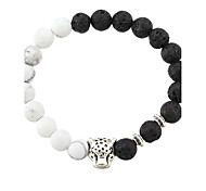 New White and Black Silver Plated Leopard Charm Stone Beads Bracelets For Men Lava Matte Fashion Men Jewelry