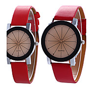 Men/Women's Simple Casual Style PU Leather Watchband Round Dial Couples Watch Quartz Wrist Watch Strap Watch